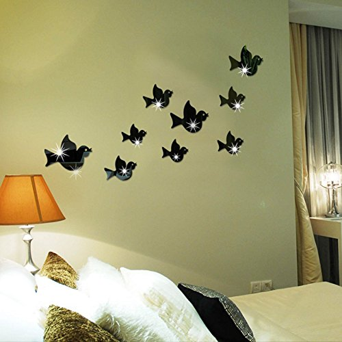 Ghaif Flying Bird mirror wall mount stereo posters on the wall in the living room sofa bedrooms are simply decorated animal sticker in black by Ghaif