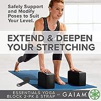 Gaiam Essentials Yoga Block 2 Pack & Yoga Strap Set