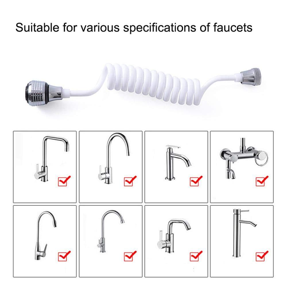 Volwco Estensore universale per rubinetto a risparmio idrico girevole a 360/° a prova di schizzi tubo aeratore diffusore ugello allungabile flessibile rubinetto spruzzatore per cucina lavello e bagno