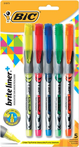 BIC Brite Liner+ Highlighter, Chisel Tip, Assorted Colors, 5-Pack