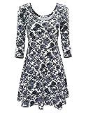 TAM WARE Women Elegant Floral Print 3/4 Sleeve Scoop Neck Flare Dress TWCWD100-GRAY-US M