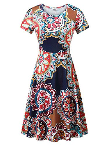 HUHOT Women Summer Vacation Bohemian Vintage Floral Printed Midi Dresses Flower-25 Medium