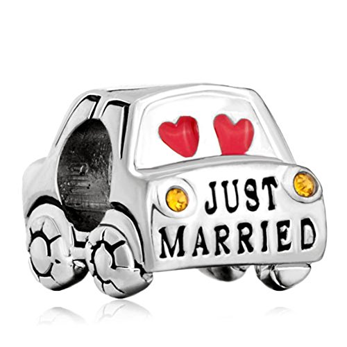 Pugster Just Married Pink Hearts Love Yellow Crystal Wedding Car Silver Charm Fits Pandora Bead Bracelet