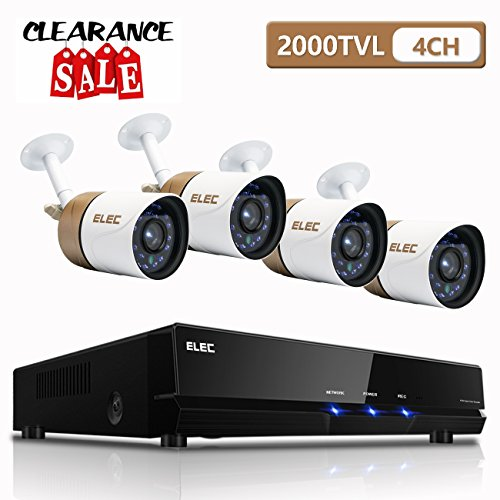 Security Camera System,ELEC 4-Channel AHD 1080N DVR HD 2000TVL Surveillance DVR Cameras CCTV+ 4 Weatherproof Bullet 1.3MP Cameras IR-Cut Night Vision, NO Hard Drive Vga Install Kits