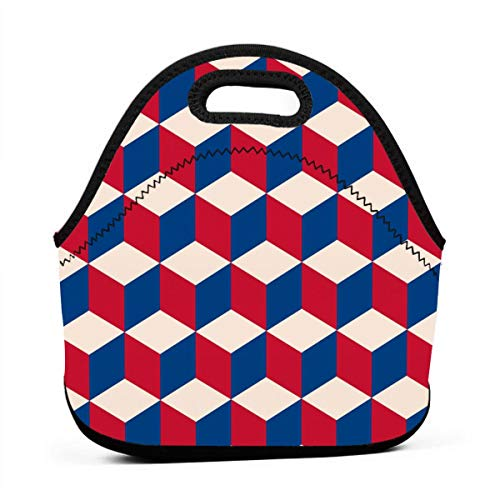 Scott Campbell8p Cubic in Vintage Flag Lunch Bag Waterproof School Picnic Carrying Lunchbox Container Organizer