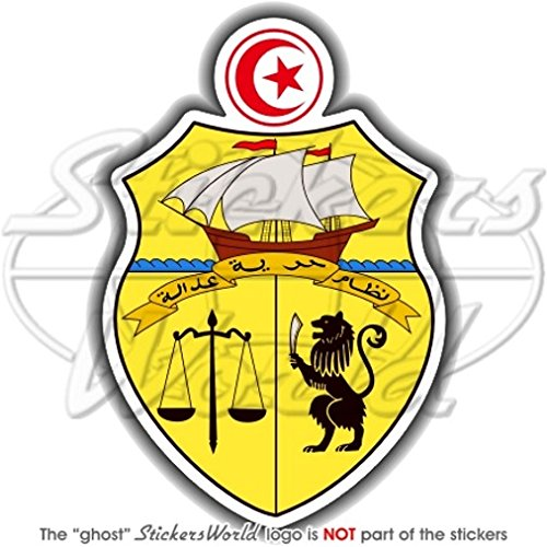 Tunisie tunisien armoiries de badge Écusson Tunisie 104mm (10,4cm) Bumper Sticker en vinyle, en StickersWorld