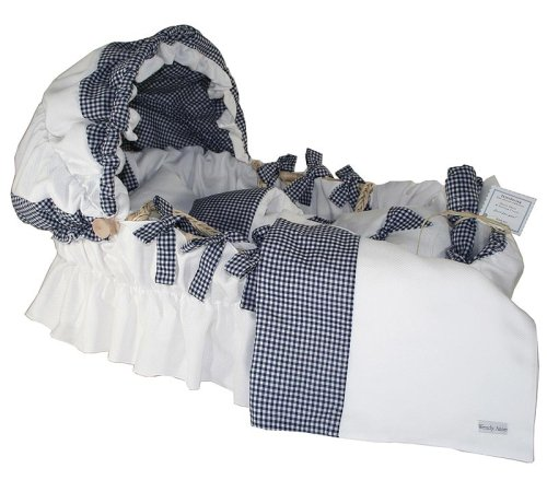 Wendy Anne Cotton - Pique and Navy Gingham Moses Basket