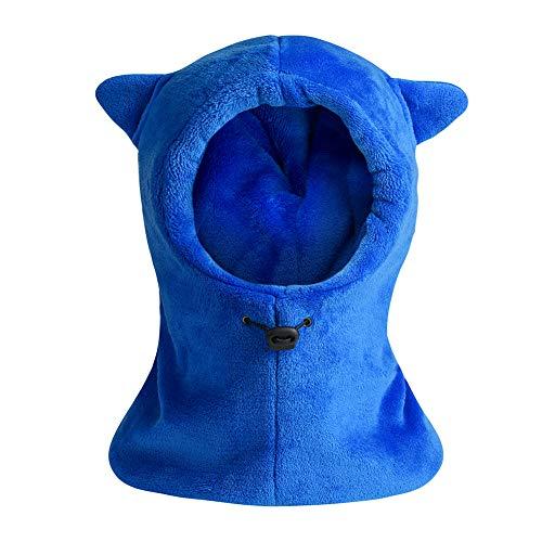 Kids Winter Windproof Warm Balaclava Hat Furry Fleece Neck Warmer Ski Riding Face Cover Mask (Blue) ()
