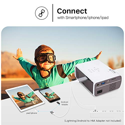 CRENOVA XPE496 Mini Projector, Full HD 1080P and 170'' Display Supported,  Portable Mini Video Projector, 50,000 Hours Led, Compatible with PC, Mac,