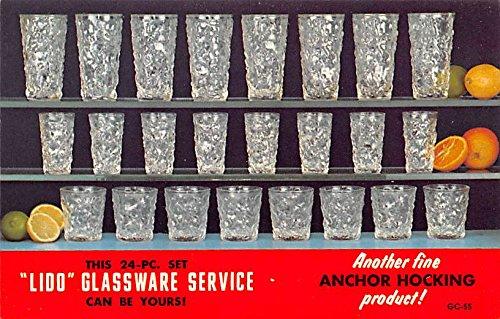 (Houseware Advertising Old Vintage Antique Post Card Lido Glassware Service Unused )
