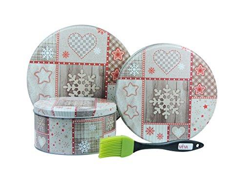 Viva-Haushaltswaren - 3 Keksdosen / Gebäckdosen / Weihnachtsdosen Ø 20, 17, 13,5 cm - inkl. 1 Backpinsel