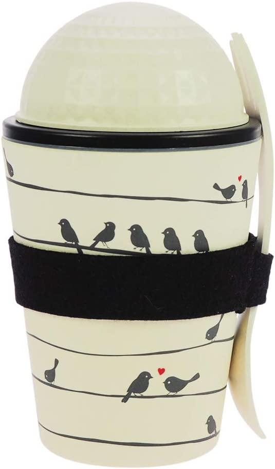 ebos Lunch-to-go Cup Made of Bamboo | salat-to-go, muesli-to-go XL, Travel Mug | Sustainable, Environmentally Friendly | Food Safe, Dishwasher-Proof (Various Designs) (Loving Birds)