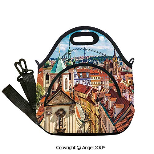 AngelDOU Cityscape Lunch Bag with Adjustable Shoulder Strap Scenic Summer View of the Old Town Prague with Sky Europe Heritage Art Deco for Adults Kids Boys Girls.12.6x12.6x6.3(inch)