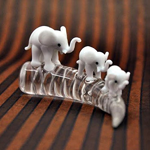 Handmade 3 Miniature White Elephants on Glass Tusk FIGURINE Animals Décor, Valentine gift, Safari Gift, Elephant Family