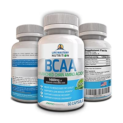 BCAA - Potent 1600mg Branched Chain Amino Acid Capsules - Extra Strong Formula for Preworkout Optimum Nutrition And Energy - Best Thermogenic Fat Burner Dietary Supplement - USA Made