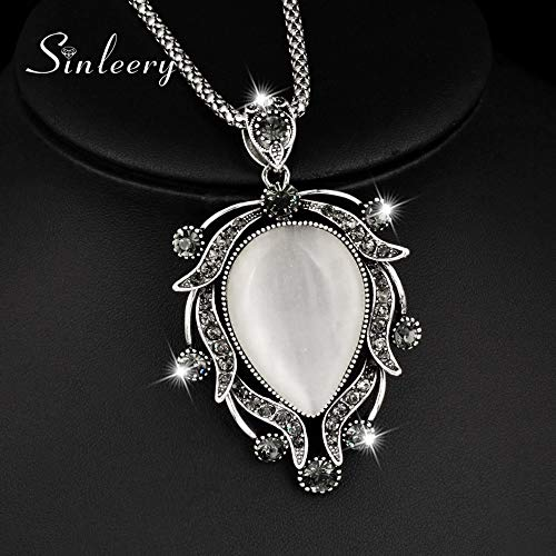 (LTH12 Pendant Necklaces - Vintage Big Opal Drop Pendant Necklace Antique Silver Color Long Chain Charm Jewelry for Femmale Party Dress MY029 SSB 1 PCs)