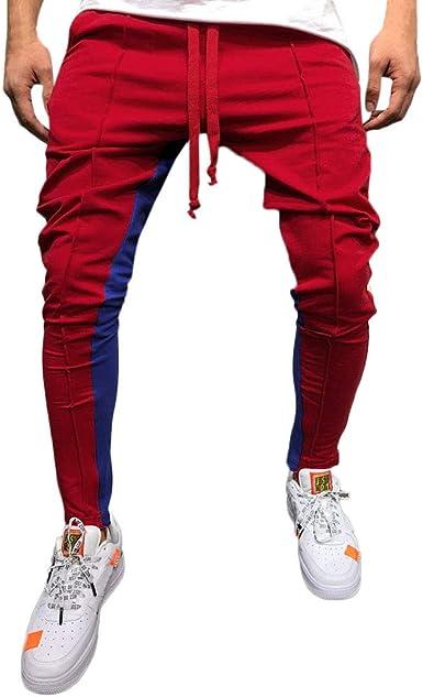 Sólido Casual Pantalones Hombre Pitillo Blanco Rojo Azul Suelto ...
