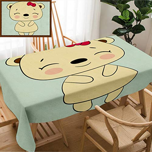 Unique Custom Design Cotton And Linen Blend Tablecloth Children S Illustration With A Baby Girl Bear Best Choice For Cards Invitations Printing PartyTablecovers For Rectangle Tables, 70