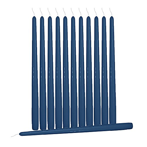 Hyoola 12 Pack Tall Taper Candles - 10 Inch Midnight Blue Dripless, Unscented Dinner Candle - Paraffin Wax Cotton Wicks - 8 Hour Burn Time by Hyoola