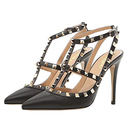 Vocosi Sandali Con Il Cinturino Alla Caviglia Per Il Vestito, I Sandali Con I Tacchi A Punta E Le Scarpe Nere Con I Tacchi Alti
