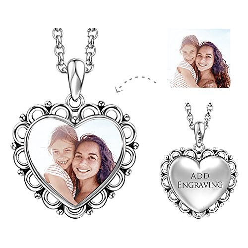 SOUFEEL 925 Sterling Silver Necklaces Personalized Photo Charm Engravable Pendant Necklace