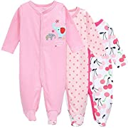 Hisharry 3-Pack Baby Girl and Toddler Girl Long Sleeve Romper Cotton Pajamas 0-3M