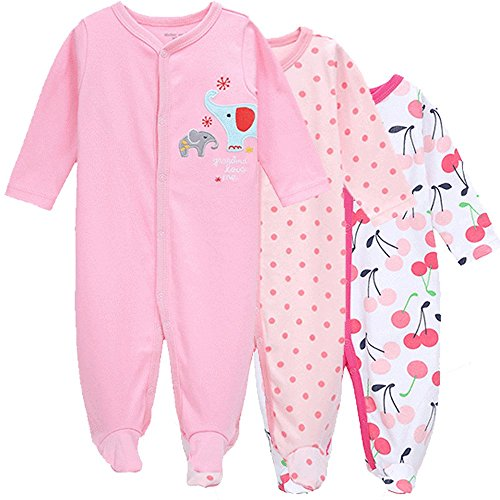 3-Pack Baby Girl and Toddler Girl Long Sleeve Romper Cotton Pajamas 9-12M