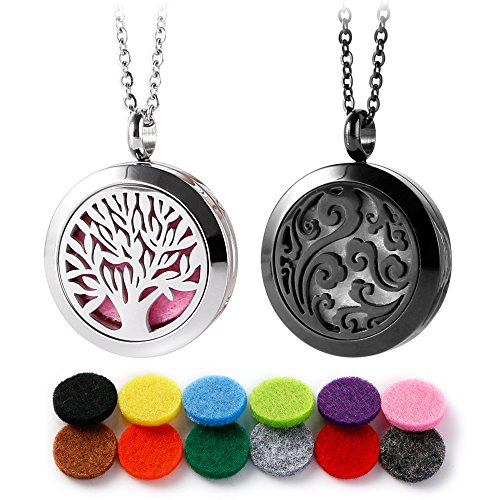 RoyAroma 2PCS 25MM Cloud & Mini Tree of Life Aromatherapy Essential Oil Diffuser Necklace Two Patterns Pendant Locket Jewelry,23.6