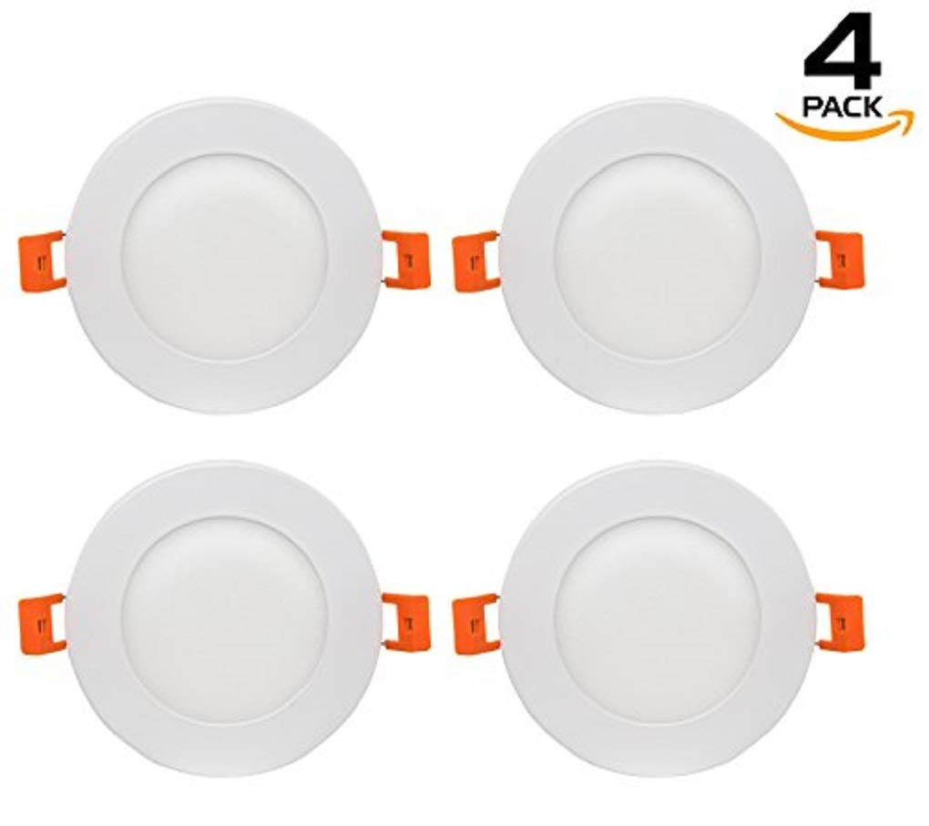 Westgate Lighting 9W 4'' Inch Ultra Thin Slim LED Recessed Light - Dimmable Retrofit Downlight Smooth Trim - Junction Box Included - No Housing Required - Ceiling Lights (4 Pack, 4000K Neutral White) by Westgate (Image #1)