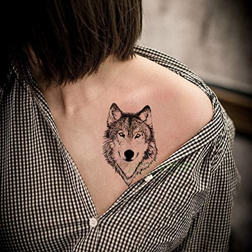 6pcs Tatuaje Impermeable Etiqueta engomada búho Lobo Animal ...
