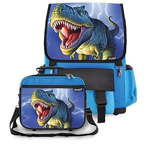 Kidaroo High Quality Backpack & Lunchbox for Boy, Girls, Kids With Lightning T-Rex Dinosaur Interchangeable Flaps (Blue)