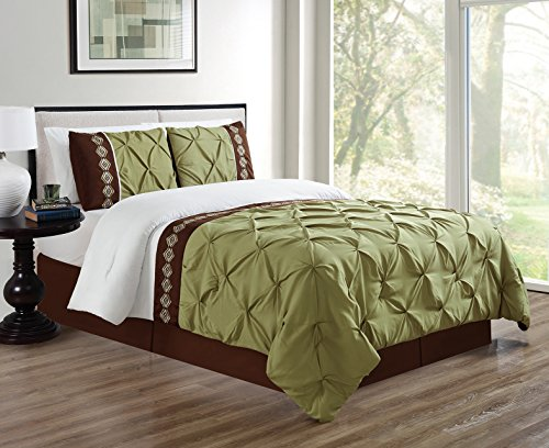 2 Piece TWIN size Sage Green/Brown/White Double-Needle Stitch Puckered Pinch Pleat All-Season Bedding-Goose Down Alternative Embroidered Comforter Set