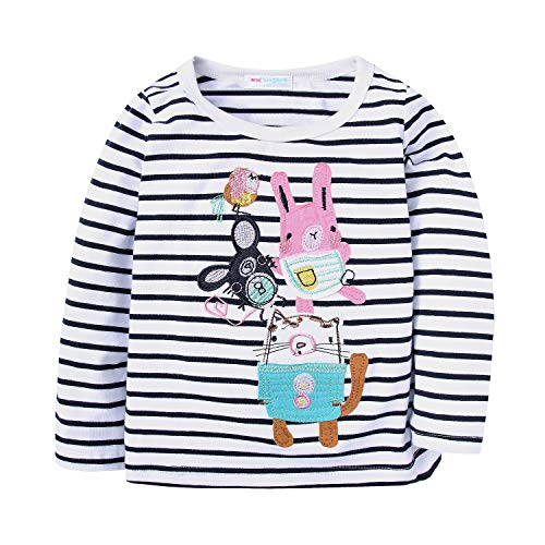 cd3d72cdb515 Mud Kingdom Girls Long Sleeve T-Shirts Cute Mouse Family Stripe ...