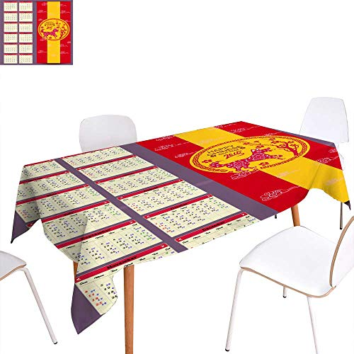 longbuyer Table Cover Lunar Calendar Chinese Calendar for Happy New Year Year of The Dog Rectangle/Oblong W 50 x L 80
