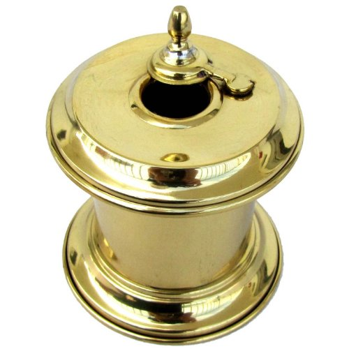 (TG,LLC Solid Brass Captain's Writing Pen Inkwell with Moving Swivel Lid)