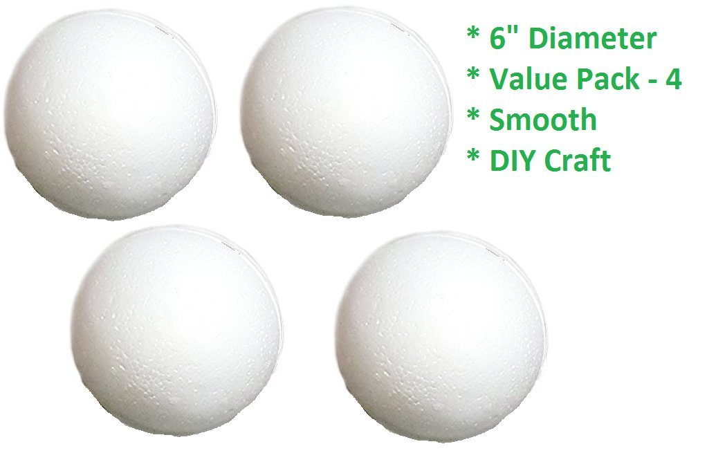 6'' Styrofoam Craft Balls - Large Size (Pack of 4) Ideal for Kids Handicraft Projects, DIY Decoration Ornaments, Art & Craft