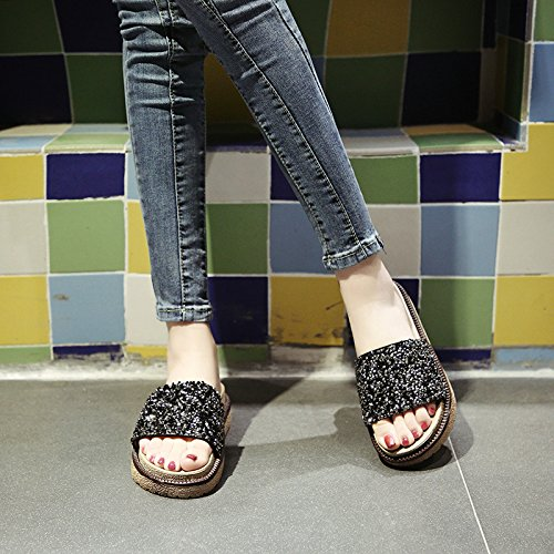 Comfort Beach WHLShoes Lap Slippers Fashion Non Slip Women'S Sandals Black Pine Bottom Hundred Summer Cake Wear Female Thick OwgvUpxqO