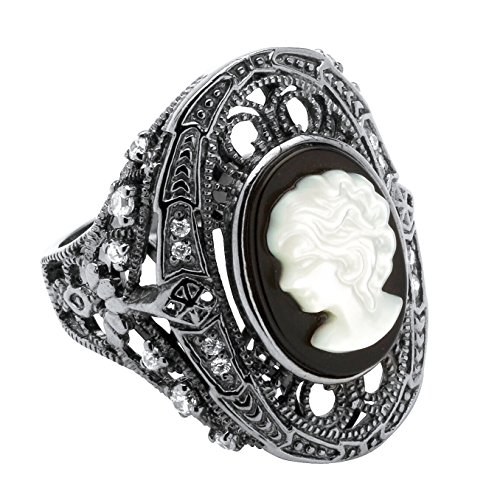 Genuine Black Onyx and White Mother-of-Pearl Cameo and CZ Black Rhodium-Plated Cocktail Ring