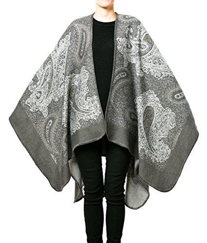 Alpaca Wool Womens Sweaters (NISHAER Women Wool Alpaca Feeling Open front Blanket Cape Poncho Shawl)
