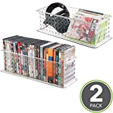 mDesign Stackable Household Storage Bin for DVDs, PS4 and Xbox Video Games - Pack of 2, Large, Clear