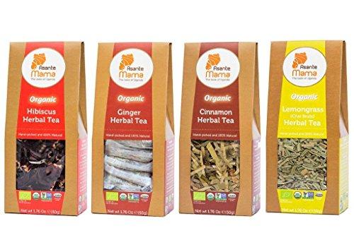 Premium Organic  Non Gmo Herbal Tea Sampler   Flavor Variety Pack Of 4   Lemongrass  Ginger  Hibiscus And Cinnamon