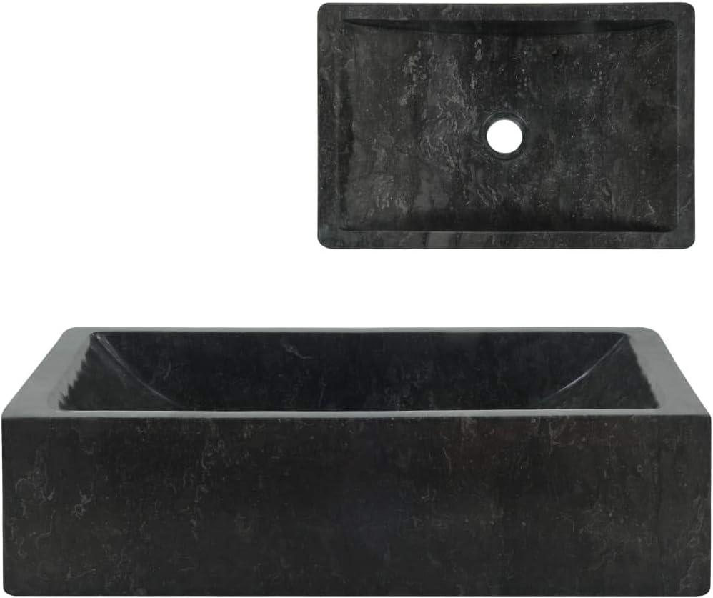 vidaXL Lavabo Sanitario Baño Servicio Casa Fregadero Piezas de Fontanería Bricolaje Instalación Decoración Aseos Grifería 45x30x12 cm Mármol Negro Piedra Natural