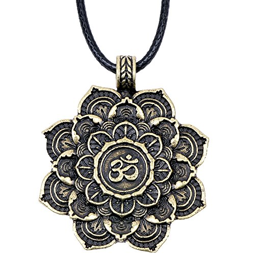 Paw Paw House Lotus Om Mandala Pendant Necklace Tibetan Buddhist Protection Medallion Meditation Yoga Inspired Bohemian Boho Necklace for Women Men (4128Br) Buddha Pendant Charm