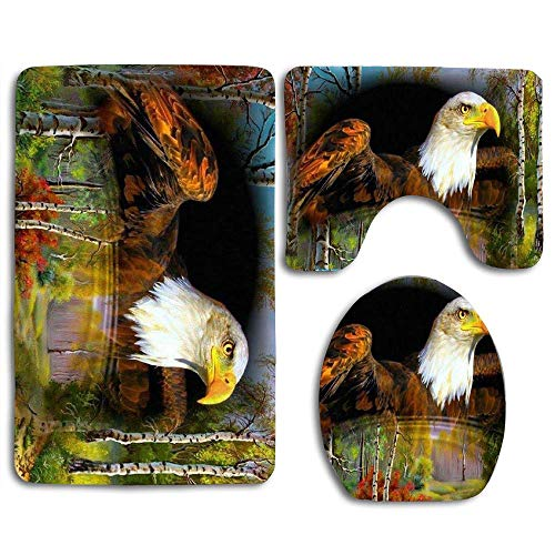 - EnmindonglJHO Animal Trees Pond Fantasy Eagle Bird Bathroom Rug Mats Set 3 Piece Toilet Carpet Rugs Includes Contour Mat and Lid Cover, Non Slip Mats for Tub Shower