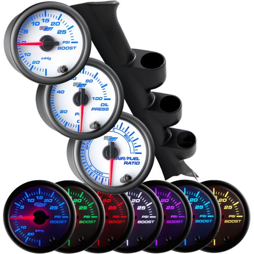 GlowShift Gauge Package for 1994-2002 Ford Mustang SVT Cobra Hardtop - White 7 Color 30 PSI Boost/Vacuum, Narrowband Air/Fuel Ratio & 100 PSI Oil Pressure Gauges - Black Triple Pillar Pod