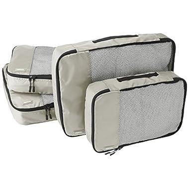 AmazonBasics 4-Piece Packing Cube Set - 2 Medium and 2 Large, Gray