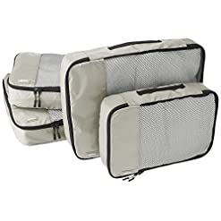 Travel Junkie 51LgoxK8GJL._SS247_ Amazon Basics 4 Piece Packing Travel Organizer Cubes Set - 2 Medium and 2 Large, Grey