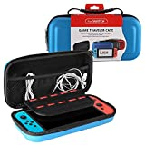 Uolor Nintendo Switch Carry Case with 10 Game Holder Double Zipper Design, Storage Bag for Nintendo Switch (Blue)
