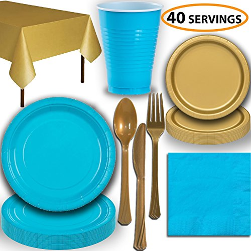Disposable Party Supplies, Serves 40 - Turquoise and Gold - Large and Small Paper Plates, 12 oz Plastic Cups, Heavyweight Cutlery, Napkins, and Tablecloths. Full Two-Tone Tableware Set