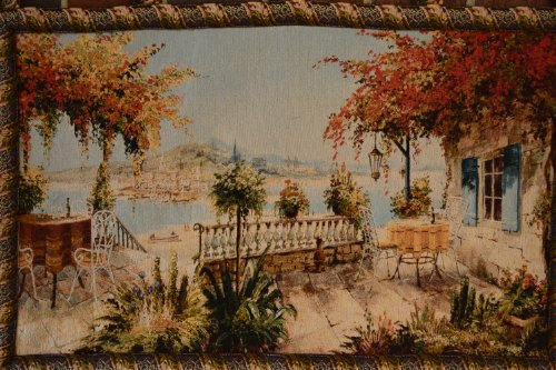 Tache 28 X 47 Inches Summer Ocean View Table for Two Tapestry Wall Hanging Art Decor